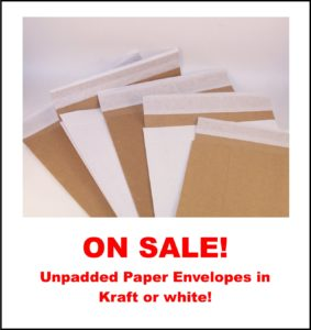 ALL Unpadded Paper Mailer Envelopes on Sale, 10% below list prices at www.GlobeGuardProducts.com until December 31, 2018.